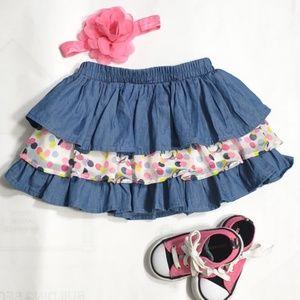 🎉HP🎉Disney Minnie Mouse Chambray Ruffle Skirt 2T